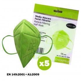 Pack 5 Mascarillas protección FFP2 color homologada CE