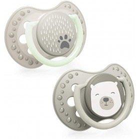 LOVI x2 chupetes silicona 0-3 meses | Efecto Calmante | Brilla en la Oscuridad | Buddy Bear Colección