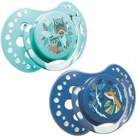 LOVI x2 chupetes Mini Silicona 3-6 meses | Efecto Calmante | Folky Colección Azul